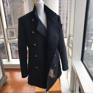 NWT Zara Blue Wool Winter Pea Coat Jacket